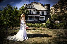 a bride in the citrus grove New Hall Mansion, Piru CA
