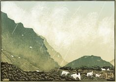 """Bwlch Graig Fawr"" linocut by Ian Phillips. http://www.reliefprint.co.uk/ Tags: Linocut, Cut, Print, Linoleum, Lino, Carving, Block, Woodcut, Helen Elstone, Wales, Welsh, Cymru, Fields, Mountain, Sheep, Animals, Rain, Grass."