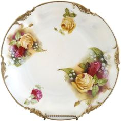 ES Prussia yellow rose plate Lily of the Valley gold trim @rubylanecom