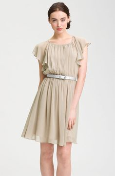 Calvin Klein: http://shop.nordstrom.com/S/calvin-klein-butterfly-sleeve-pleated-chiffon-dress/3244616?origin=category&resultback=859