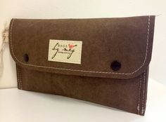 Brown kraft washable paper clutch purse wallet. by handmadebymegs, $43.00