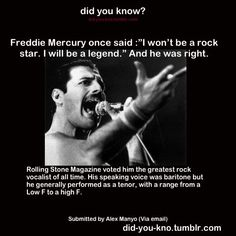 A scientific report was done on his vocal range. Most impressive. Freddie Mercury Quotes, Queen Freddie Mercury, Bryan May, Galileo Galileo, Queen Facts, John Deacon, Rainha Do Rock, Queen Meme, Weird Facts