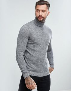 New Look Roll Neck Knitted Sweater In Gray Marl - Gray