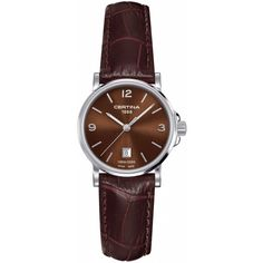 Certina DS Caimano Genuine Brown Leather Ladies Quartz Watch ($221) ❤ liked on Polyvore featuring jewelry, watches, brown wrist watch, leather wrist watch, analog watches, leather jewelry and brown jewelry