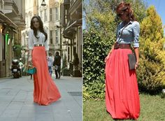30 Reasons and 1 Explanation Why Women Love Maxi Skirts Diva Fashion, Fashion Addict, Womens Fashion, Long Maxi Skirts, Maxi Dresses, Warm Weather Outfits, Passion For Fashion, Dress Skirt, Denim Blouse