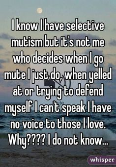 I know I have Selective Mutism but it's not me who decides when I go mute I just do. Selective Mutism is NOT a choice!