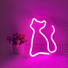 Cat Neon Light, Cute Neon Cat Sign, Battery or USB Powered Night Light as Wall Decor for Kids Room, Bedroom, Festival, Party (Pink) - - Amazon.com