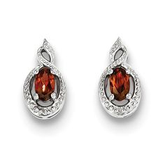 Sterling Silver Garnet & Diamond Earrings – Goldia.com