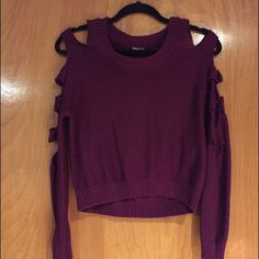 Crop purple sweater with side arm cuts Cropped purple sweater with side arm cuts! Charlotte Russe Sweaters