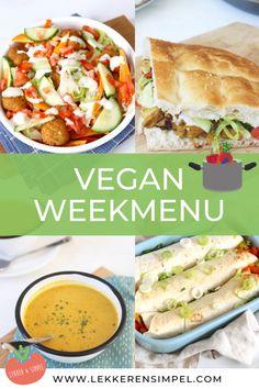 Een weekmenu vol met vegantistische/plantaardige recepten. Makkelijk om te maken, snel klaar en gezond. Lekkere recepten voor het diner zoals een kapsalon met zoete aardappel en falafel, vegan broodje shoarma, wraps met groenten en een soepje. Klik op de foto voor de recepten. #watetenwevandaag #recepten #vegan  Vegetarian Recepies, Veggie Recipes, Healthy Recipes, Delicious Recipes, Diner Recipes, Cookbook Recipes, Vegan Diner, Falafel, Fast Food