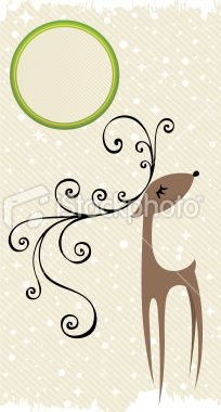 Christmas background with funny reindeer Royalty Free Stock Vector Art Illustration