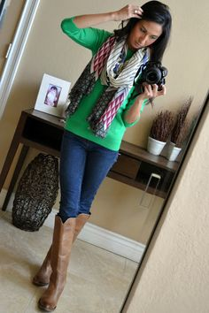 @MommyTesters Lucchese Chelsea boots, J.Crew sweater and Cashmere scarf