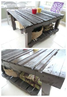 This table is made of two used upcycled pallets and 4x4 posts for the legs Found on Etsy #PalletTable, #RecycledPallet