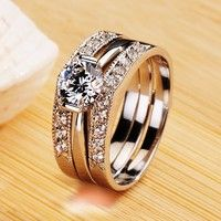 New Luxury 0.6CT Cubic Zirconia 950 Sterling Silver Plated White Gold Women's Ring