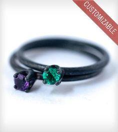 Custom Oxidized Sterling Silver Birthstone Ring