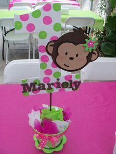Mod monkey theme pink n green girl birthday centerpiece. Girl Monkey Birthday, Monkey Birthday Parties, Baby First Birthday, Birthday Party Themes, Birthday Ideas, Birthday Bash, Birthday Centerpieces, Birthday Decorations, Monkey Centerpiece