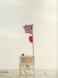 Lifeguard stand at the beach on summer afternoon