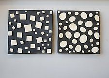 "Pair with Disks and Squares by Lori Katz (Ceramic Wall Sculpture) (16"" x 33.5"")"