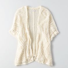 AE Open Stitch Cardigan ($34) ❤ liked on Polyvore featuring tops, cardigans, white, lightweight cardigan, short sleeve open front cardigan, white crochet top, draped open front cardigan and open knit cardigan
