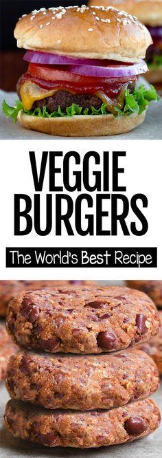 Veggie Burger Recipe - Just 6 Ingredients! - The Best Easy Veggie Burger Recipe, can be customized to make pumpkin veggie burgers, cauliflower burgers, black bean burgers, etc. Ultimate Veggie Burger Recipe, Homemade Veggie Burgers, Veggie Recipes, Whole Food Recipes, Cooking Recipes, Healthy Recipes, Best Vegan Burger Recipe, Jam Recipes, Protein Veggie Burger Recipe