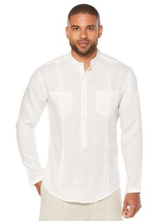 Linen Long Sleeve 2 Pocket Popover Shirt, Bright White, hi-res White Linen Shirt, White Shirt Men, Linen Shirts, Tee Shirts, Kurta Pajama Men, Kurta Men, Guayabera Shirt, Safari Jacket, Shirt Refashion