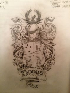 Dimas Reyes Family Crest Tattoo On Shoulder