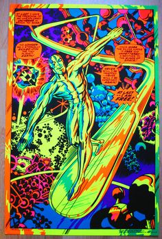 Marvel / Third Eye black light poster, Silver Surfer by Jack Kirby, early 70's