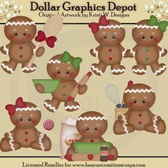 Gingerbread Christmas Clip Art *DGD Exclusive* - Created by Kristi W. Designs - Great for printable crafts, scrapbooking, embroidery patterns, and more! www.DollarGraphicsDepot.com