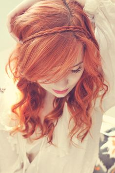sometimes i wish my hair were red. love her hair color Braided Bangs and Long Hair. I want my long hair back! Love the hair down! Her hair. Popular Hairstyles, Pretty Hairstyles, Braided Hairstyles, Style Hairstyle, Vintage Hairstyles, Hairstyle Ideas, Hairstyles Haircuts, Wedding Hairstyles, Girly Hairstyles