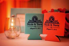 Elegant coozie favors in the wedding colors