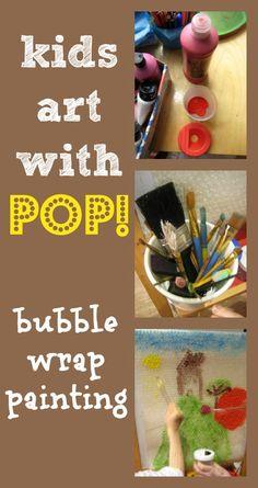 Kids art with pop! Fun idea with bubble wrap! Kids Art Class, Art For Kids, Crafts For Kids, Arts And Crafts, Preschool Art, Recycled Art, Creative Kids, Painting For Kids, Teaching Art