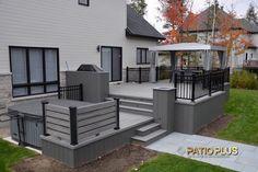 Patio-level and multi-level Hot Tub Backyard, Hot Tub Garden, Backyard Seating, Deck Patio, Backyard Pools, Pool Decks, Pool Landscaping, Modern Patio Design, Backyard Patio Designs