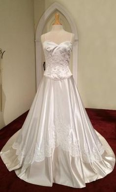 Eden Bridals 5001 Ivory, Champagne trim, Italian Satin 10: buy this dress for a less on PreOwnedWeddingDresses.com