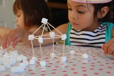 Toothpicks and mini-marshmallows for teaching solid geometic shapes...more fun than straws and twist ties!