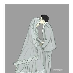 Cute Muslim Couples, Muslim Girls, Cute Couples, Cute Couple Art, Anime Love Couple, Wedding Couple Cartoon, Hijab Drawing, Islam Marriage, Islamic Cartoon