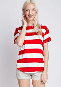 Nautical Cold Shoulder Red Striped Top by 12PM