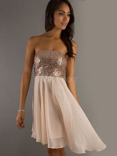 [$23.99] Apricot Strapless Sequin Polyester Asymmetrical Fashion Club Dress