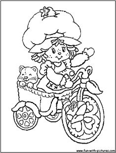 strawberry shortcake goes cycling with her pet cat