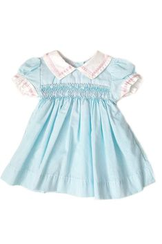 Traditional little dress with a vintage and nautical flair! Blue stripes and white sailor collar with pink satin trim and hand-smocked bodice. Fun and ethical kids clothing. Nautical Summer Dresses, Pastel Shades, Ethical Clothing, Spring Summer 2018, Smocking, Floral Prints, Color, Clothes, Collection