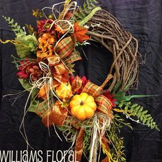Fall Grapevine Wreath f31  by WilliamsFloral on Etsy, $60.00
