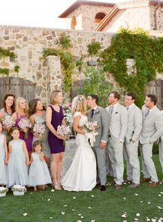 Purple Gray Wedding Party