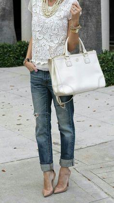 Boyfriend jeans, lace top, pumps