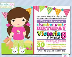 Slumber Party Birthday Invitations 454  12 PRINTED by LullabyLoo, $18.00 #slumber party #sleepover #sleepunder #birthdayparty #party invitations #birthday invitations #girls