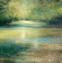Amanda Hoskin - Quiet Reflections on the River- BTW London Abstract Landscape, Landscape Paintings, Abstract Art, Drawing Artist, Painting & Drawing, Beautiful Paintings, Pastel Paintings, Spring Painting, Forest Art