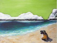Acrylmalerei - Mops am Strand..., Acrylbild Unikat - ein Designerstück von Angelika-Rump bei DaWanda