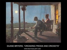 """Western Art by Duane Bryers, """"Croaking Frogs and Crickets"""""""