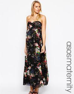 ASOS Maternité - Maxi robe à imprimé fleuri numérique avec bretelles amovibles