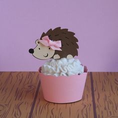 Woodland Creatures Girl Hedgehog Cupcake by PaperPartyParade, $3.50