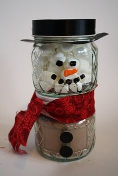 Hot Cocoa Snowman Gift. This is a very cute idea, especially if you have several people that you want to give a small gift to.
