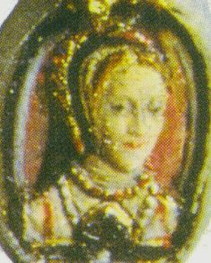 Miniature portrait of Anne Boleyn - inside the ring that her daughter Elizabeth I constantly wore and was removed from her finger after her death and sent to James VI of Scotland as evidence of her death, showing how important the ring and her mother were to Elizabeth.